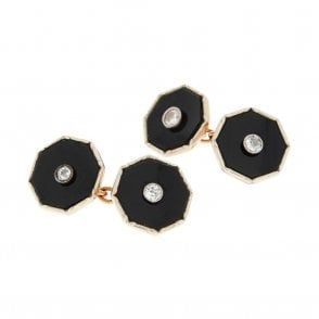 Vintage 9ct Rose Gold Octagonal Onyx Cufflinks