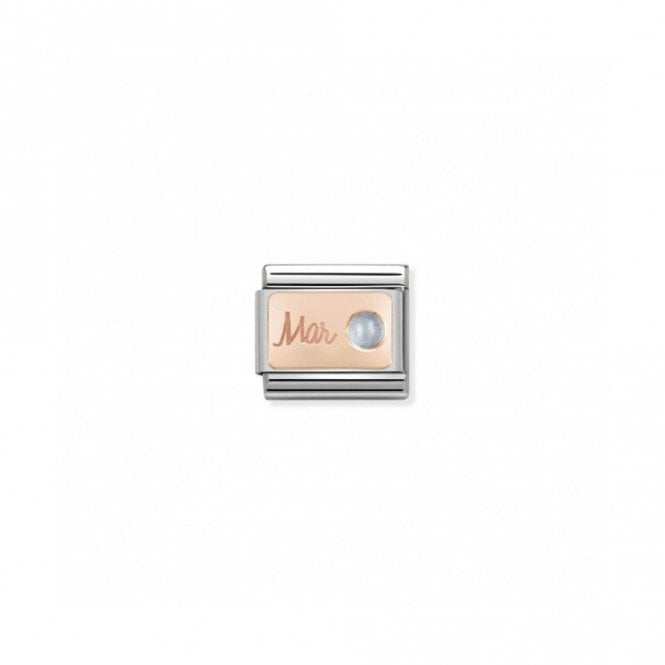 "Nomination Composable Classic Link ""March"" with Blue Aquamarine Stainless Steel 9k Rose Gold 430508 03"