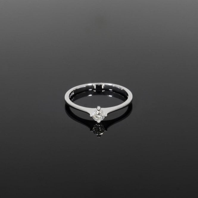 Solitaire Ring 0.15ct Diamond 9ct White Gold