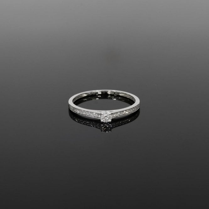 Solitaire Ring 0.16ct Diamond 9ct White Gold
