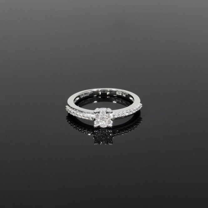 Solitaire Ring 0.24ct Diamond 9ct White Gold
