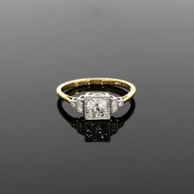 0.74ct Diamond Vintage Deco 18ct Yellow Gold