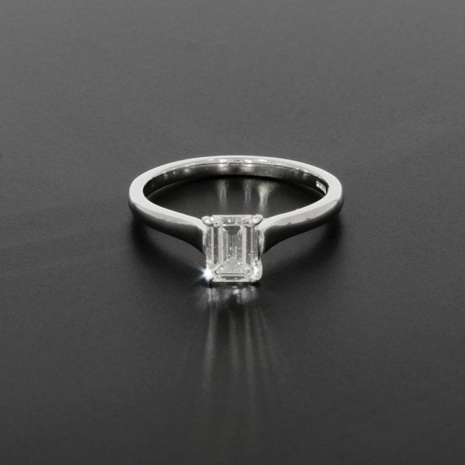 Solitaire Ring 0.76ct Emerald Cut Diamond 18ct White Gold