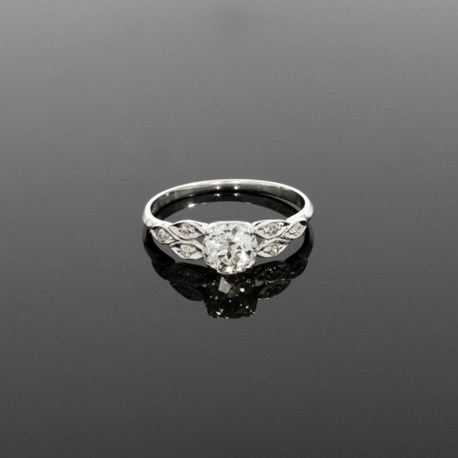 Solitaire Ring 0.90ct Diamond Vintage Deco Platinum