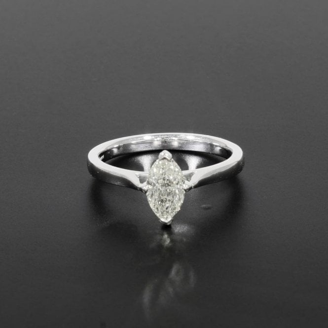Solitaire Ring 0.91ct Certificated Marquise Cut Diamond 18ct White Gold