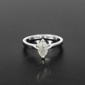0.91ct Certificated Marquise Cut Diamond 18ct White Gold