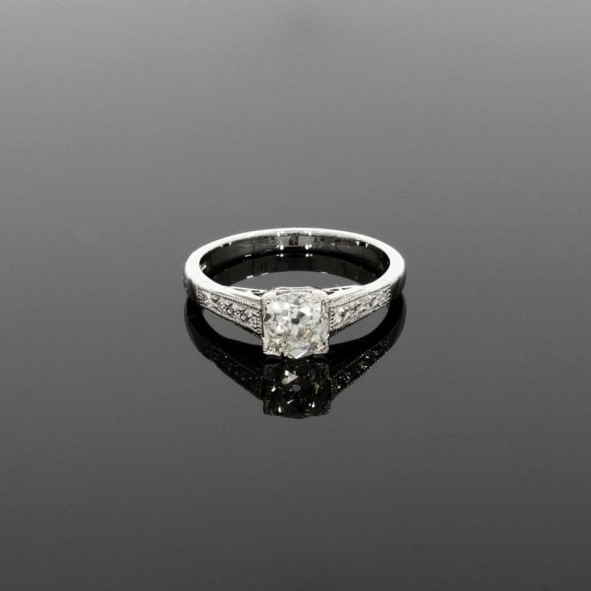 Solitaire Ring 0.93ct Diamond Vintage Deco Platinum