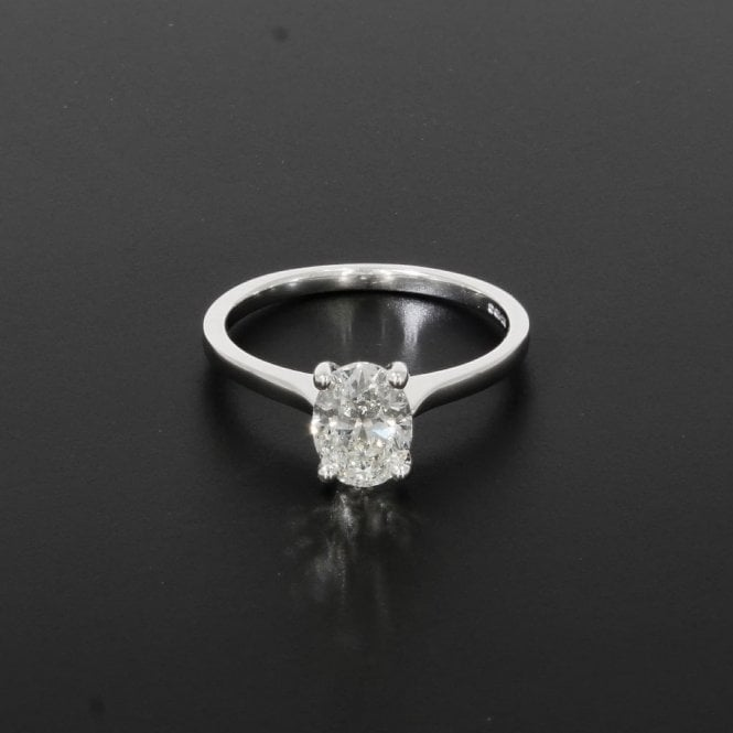 Solitaire Ring 1.00ct Oval Cut Diamond 18ct White Gold