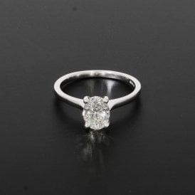 1.00ct Oval Cut Diamond 18ct White Gold