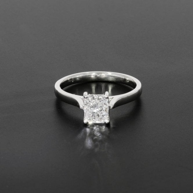 Solitaire Ring 1.01ct Radiant Cut Diamond 18ct White Gold