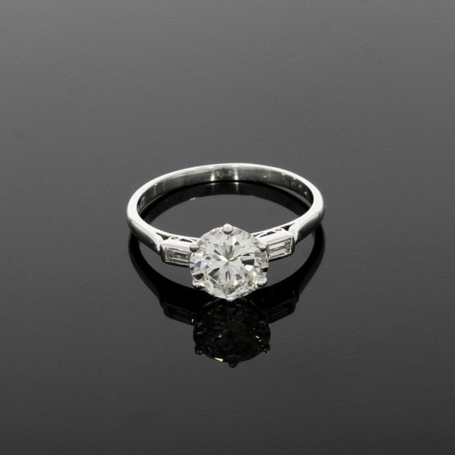 Solitaire Ring 1.36ct Diamond Platinum