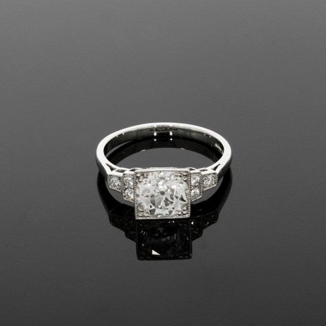 33687b45f Solitaire Ring 1.81ct Total Diamond Vintage Deco Platinum ...