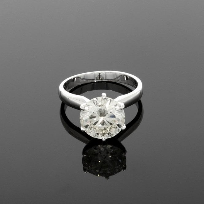 Solitaire Ring 3.19ct Diamond 18ct White Gold