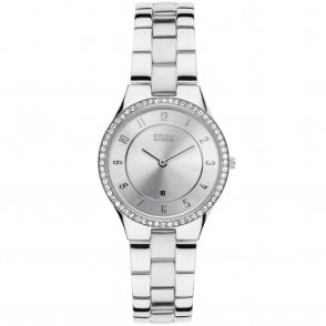 Ladies Slim X Crystal Silver 47189/S