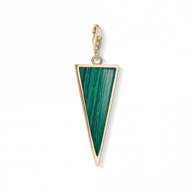 Thomas Sabo Gold Coloured Green Triangle Charm