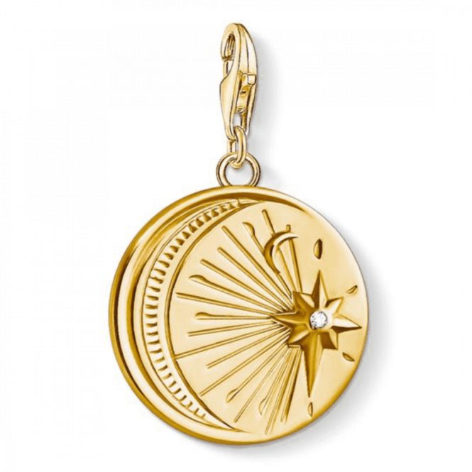 Thomas Sabo Gold Coloured Vintage Moon and Star Charm