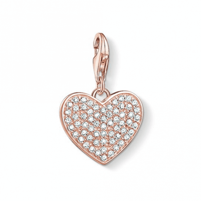 Thomas Sabo Rose Gold Coloured Heart Pave Charm