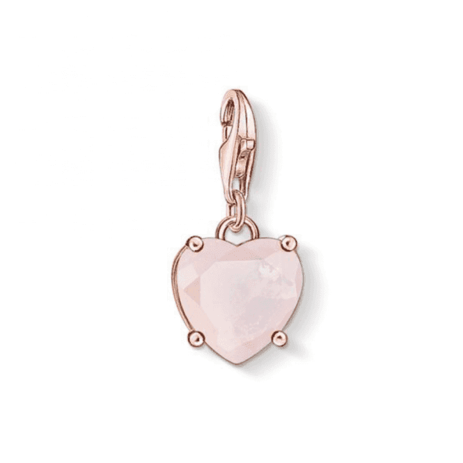 Thomas Sabo Rose Gold Coloured Heart With Hot Pink Stone Charm