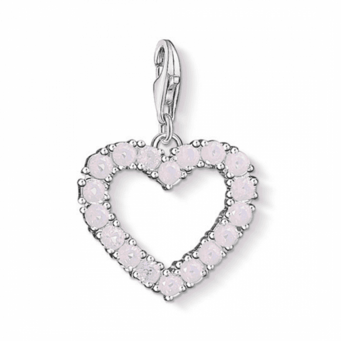 Thomas Sabo Silver Heart With Hot Pink Stones Charm
