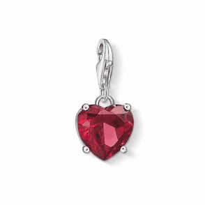 Silver Heart With Red Stone