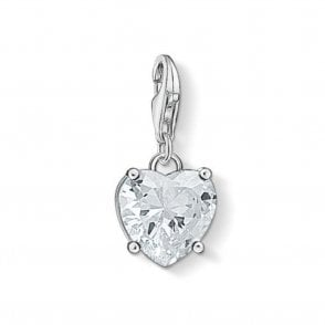 Silver Heart With White Stone Charm