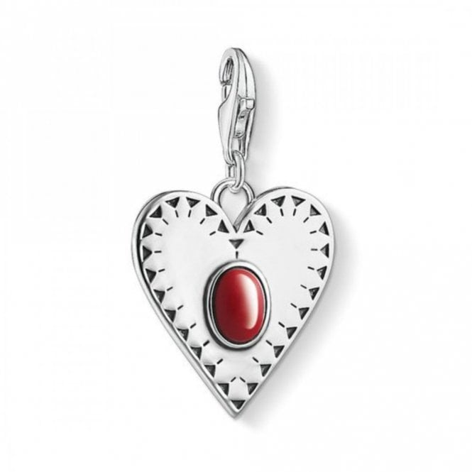 Thomas Sabo Silver Red Heart Stone Charm