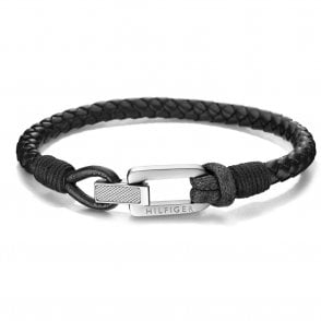 Braided Fold Over Bracelet Black (2701012)