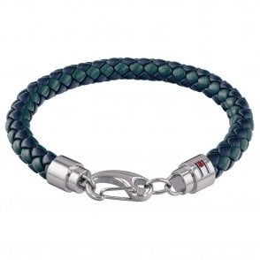 Woven Leather Bracelet Navy & Green (2790045)