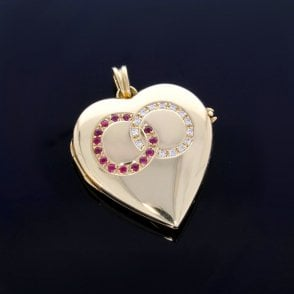 18ct Gold Diamond & Ruby Heart Locket
