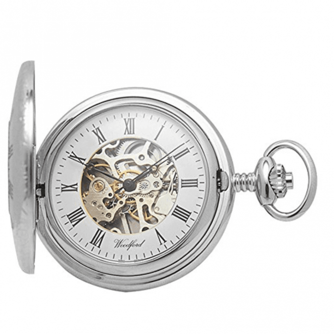Woodford Chrome Skeleton Half-Hunter Pocket Watch 1020