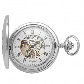 Chrome Skeleton Half-Hunter Pocket Watch 1020