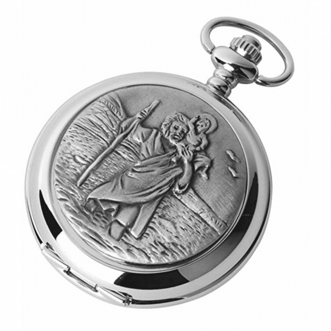 Chrome St. Christopher Full Hunter Pocket Watch 1895/Q