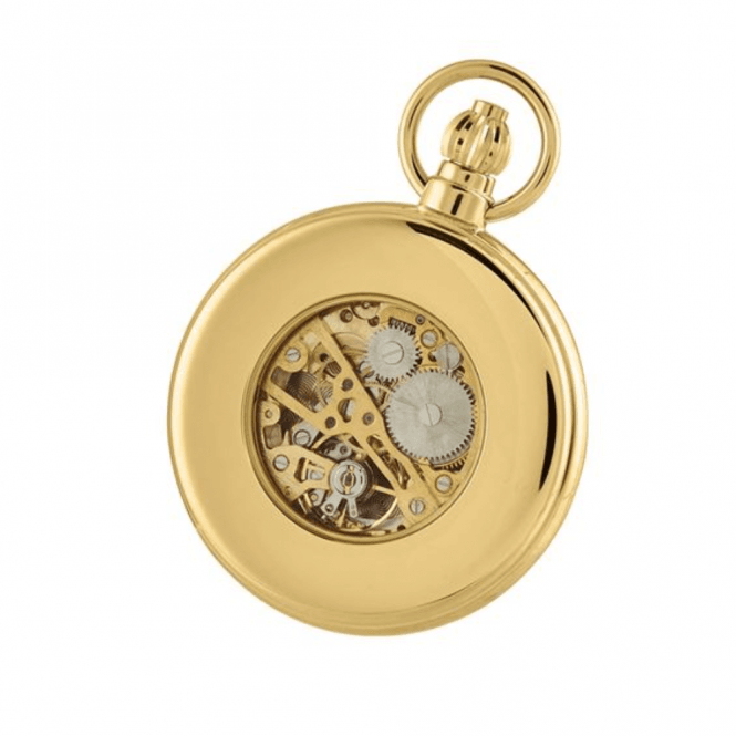 Woodford Gold Plated Skeleton Half-Hunter Pocket Watch 1099