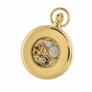 Gold Plated Skeleton Half-Hunter Pocket Watch 1099